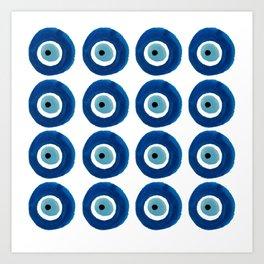 Watercolor Evil Eye Pattern (Nazar) Art Print
