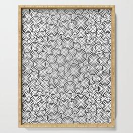 Chaotic Circles - Geometric Pattern (White) Serving Tray