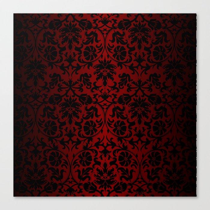 Dark Red and Black Damask Leinwanddruck