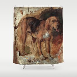 "William Holman Hunt ""Study Of A Bloodhound"" Shower Curtain"