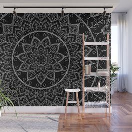 Black and White Lace Mandala Wall Mural