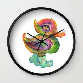 Snozzleberry Duck in autumn - put on your rain clogs Wall Clock