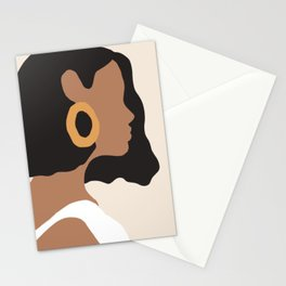 Lovely girl - Muted palette - Modern abstract hand drawn art Stationery Cards