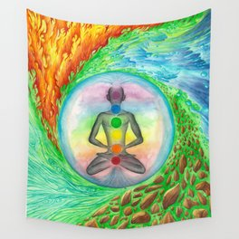 Elements and Chakras in Meditation Wall Tapestry