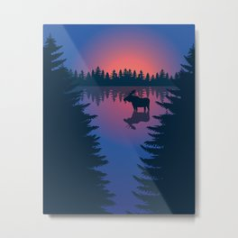 Moose in a Lake, Summer Forest Metal Print
