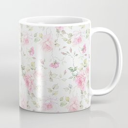 Elegant blush pink white vintage rose floral Coffee Mug