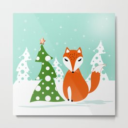 Christmas design. Cartoon red Fox,tree, snow . Metal Print