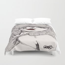 Debbie with Red Lips Duvet Cover