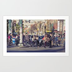 man in helmet stares wistfully across a busy intersection... Art Print