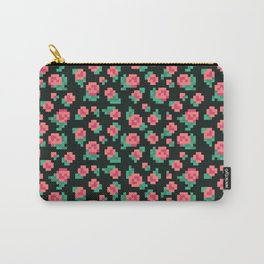 Pixel Rose Pattern Carry-All Pouch
