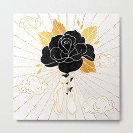 Black Rose Inktober :: Your Psyche Metal Print