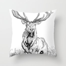 Deer in grass illustration / BW Throw Pillow