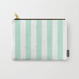Mint green and White stripes-vertical Carry-All Pouch