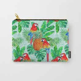 Pineapples and Parrots Tropical Summer Pattern Carry-All Pouch