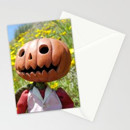 Jack Pumpkinhead in yellow field Stationery Cards