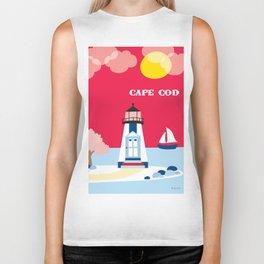 Cape Cod, Massachusetts - Skyline Illustration by Loose Petals Biker Tank