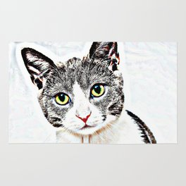 Purrfect (Perfect) Kitty Drawing Rug