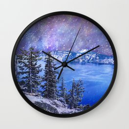 Crater Lake Starry Night Wall Clock