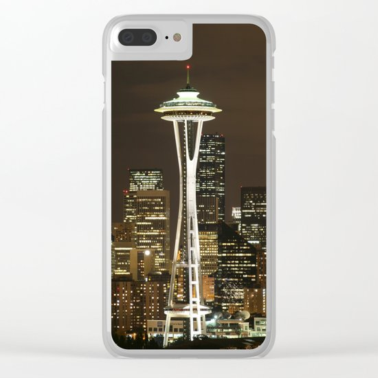 Seattle Space Needle at Night - City Lights Clear iPhone Case