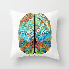 Colorful Brain Art - Just Think - By Sharon Cummings Throw Pillow