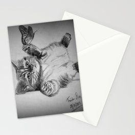 Kitten catching the butterfly Stationery Cards