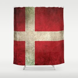 Old and Worn Distressed Vintage Flag of Denmark Shower Curtain