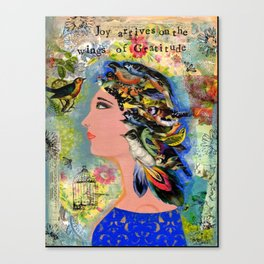 Joy Arrives on the Wings of Gratitude Canvas Print