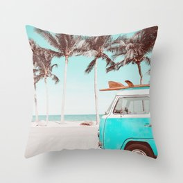 Retro Camper Van With Surf Board Throw Pillow