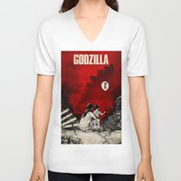 godzilla V-neck T-shirts featuring Godzilla.  by Sinpiggyhead