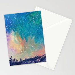 Mountaintop Northern Lights Stationery Cards