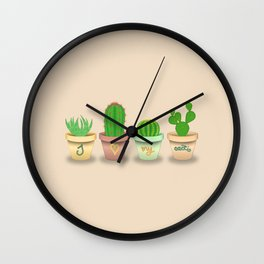 Four different cactuses in colorful pots with cute text Wall Clock