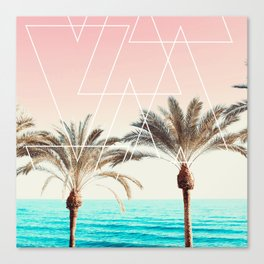 Modern tropical palm tree sunset pink blue beach photography white geometric triangles Canvas Print