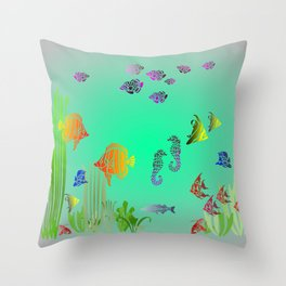 Colored Fish and Seahorse Throw Pillow