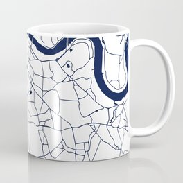 London White on Navy Street Map Coffee Mug