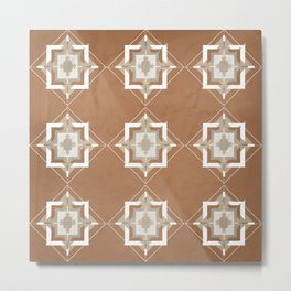 Cinnamon and Taupe Mosaic Pattern Metal Print