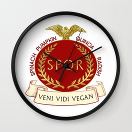 Veni Vidi Vegan Roman Badge Wall Clock
