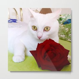 Tyche and the red rose Metal Print