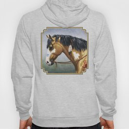 Native American Buckskin Pinto War Horse Hoody