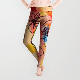 Hibiscus Family #1 (hibiscus illustration flower pattern floral drawing nursery room decor Hawaii) Leggings