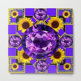 WESTERN AMETHYST GEMS PURPLE SUNFLOWER ART Metal Print