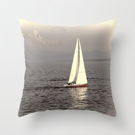 Sailing boat on the lake Throw Pillow
