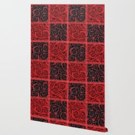 Patchwork . Roses are red. Wallpaper