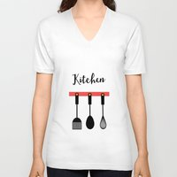 kitchen V-neck T-shirts featuring Kitchen by Sahar