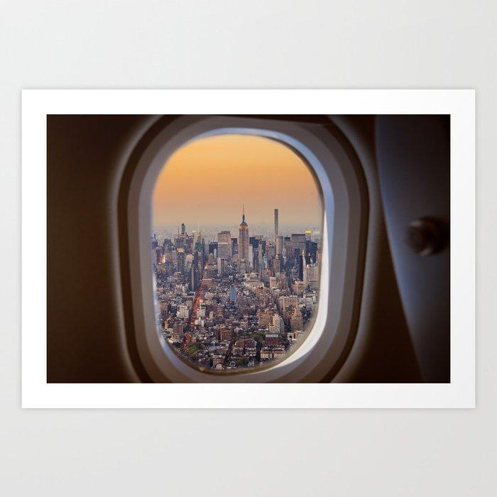 New York Skyline From Airplane Window Art Print By Filippobacci
