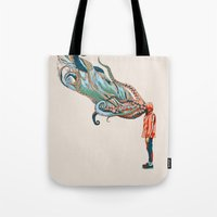 huebucket Tote Bags featuring Octopus in me by Huebucket