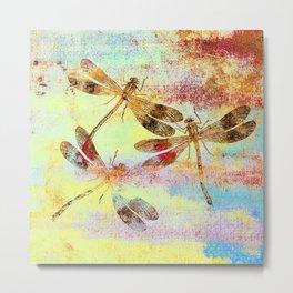 Mauritius Vintage Dragonflies Colours S Metal Print