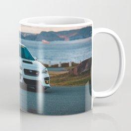White wrx sti at sunset Coffee Mug