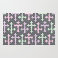 pastel goth Area & Throw Rugs featuring Pastel Goth | Grey by Glitterati Grunge