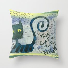 The Cat In The Night Throw Pillow