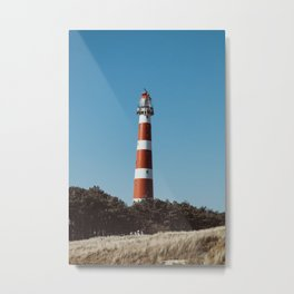 Lighthouse Peeking Out - Ameland The Netherland photo | Nature urban pastel color minimal outdoor photography art print Metal Print